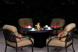 patio furniture chat group cast aluminum propane fire pit 5pc nassau