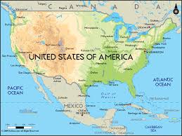 america map physical map of united states america ezilon maps at the and south