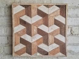 reclaimed wood wall decor lath geometric by eleventyonestudio