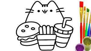 learn colors with drawing pusheen and fastfood for baby coloring