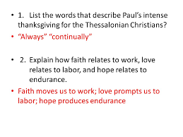 1 thessalonians 1 1 5a 1 list the words that describe paul s