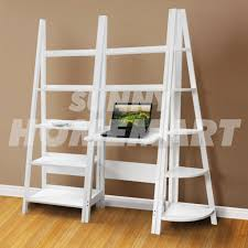 new white 3pc desk shelf 5 tier ladder corner shelf book dvd home