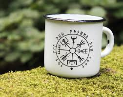 Cup Design by White Enamel Mug Cup Viking Compass Print Design Enamel