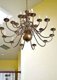 Painting Brass Chandelier How To Paint A Brass Chandelier Without Taking It Down How To