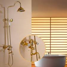 popular gold bath shower mixer taps buy cheap gold bath shower flg deluxe carving retro style solid brass gold bathroom shower set faucet wall mounted single handle