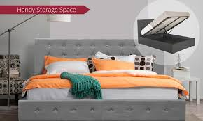 scandi gas lift fabric deluxe bed groupon goods