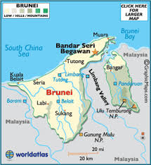 brunei map in world brunei map geography of brunei map of brunei worldatlas
