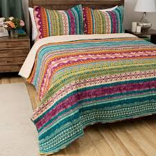 turquoise quilted coverlet greenland home fashions southwest boho cotton 3 piece quilt set