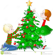 decorate christmas tree children decorate a christmas tree stock vector illustration of