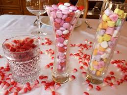 valentines table centerpieces decorations creative simple candy in glass diy table centerpiece