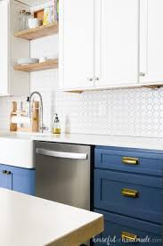 best color for low maintenance kitchen cabinets blue white two tone kitchen reveal houseful of handmade