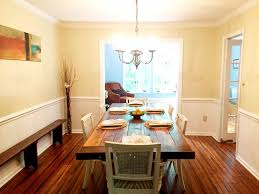 eclectic dining room with hardwood floors u0026 pendant light in