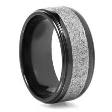 black titanium rings lashbrook black zirconium meteorite mens wedding band 90 day