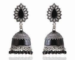 fancy jhumka earrings big silver jhumka etsy