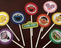 sesame cake toppers sesame birthday party sesame cupcake toppers