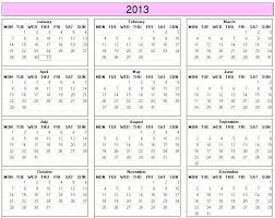 yearly 2013 printable calendar color week starts on monday