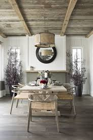 Modern Farmhouse Dining Room Barn Wood Ceiling Maybe We Could Do This To Cover Up Some Of The