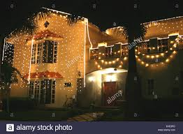 house lit up with lights for the hindu festival of diwali india