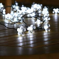 Outdoor Battery Light by 50 White Led Blossom Outdoor Waterproof Battery Fairy Lights With