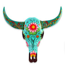 Cow Home Decor 15cm Handpainted Turquoise Resin Cow Skull Home Decor
