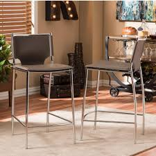 Baxton Studio Bar Stools Baxton Studio Montclare Taupe Faux Leather Upholstered 2 Piece