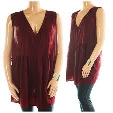 roamans sleeveless tunic top 32w burgundy flowy poly shirt blouse