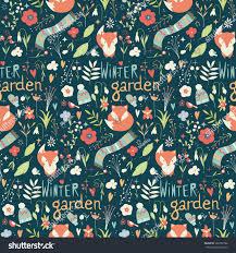 seamless pattern winter garden flowers foxes stock vector