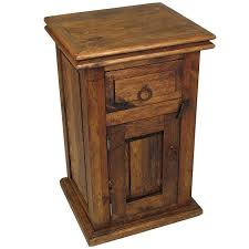 dark rustic pine nightstand with 1 drawer u0026 1 door
