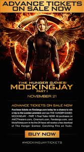the hunger games mockingjay advanced tickets free movie