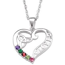 birthstone necklaces for mothers sterling silver celtic heart s birthstone necklace 19278