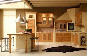 interior cottage style kitchen design with dark leather