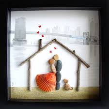 house warming present unique house warming gift family of two and dog custom family