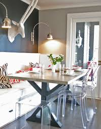 great dining room nook with navy and grey walls ghost chairs x