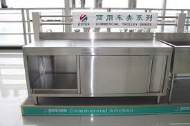 used in hotel or restaurant inox working cabinet with sliding door