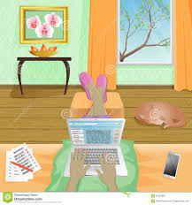 Design Works At Home Woman Freelancer Work At Home On Laptop Vector Illustration Stock