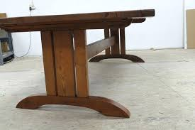 trestle base dining table mission style table custom made mission style trestle base for