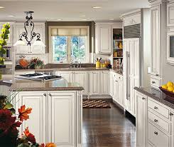 off white glazed cabinets in traditional kitchen decora