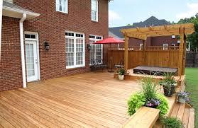 exterior pergola large backyard deck corner wooden on outdoor