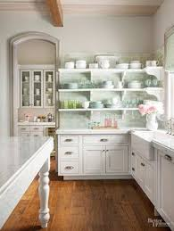 Grey And Green Kitchen Lakefront Cottage Kitchen Makeover Cottage Kitchens Kitchens