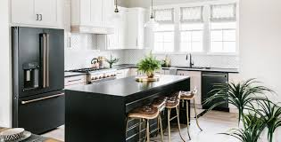black kitchen cabinets with black appliances photos matte black cafe appliances