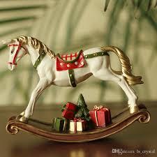 european white resin rocking horse with gift box for children