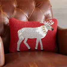 reindeer run hooked pillow a sundance holiday must have this
