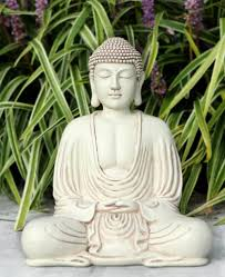 garden buddha statue with ivory finish 8 5 inches