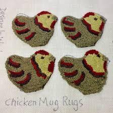 Chicken Rug Rug Hooking Pattern Chicken Mug Rugs P104 Primitive Hooked
