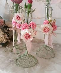Vases Of Roses Romantic Pink Roses Flower Lacy Wire Bud Vases Set 3