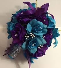 wedding flowers ebay purple turquoise malibu bridal bouquet groom