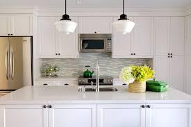 Schoolhouse Pendant Lighting Kitchen Turquoise Glass Tile Backsplash Contemporary Kitchen