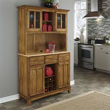 shop home styles cottage oak natural china cabinet with wine