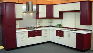 Latest In Kitchen Cabinets Agreeable Modular Kitchen With Straight Shape Features Red White