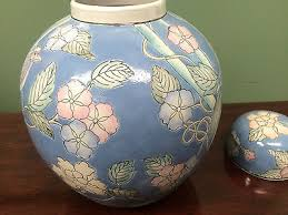 Ginger Jar Vase Ginger Jar Vase Urn Lid Blue Pink Floral Birds Large Vintage Asian